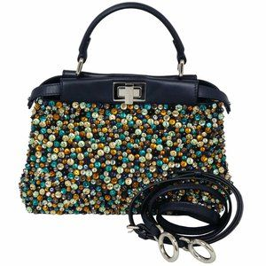 FENDI Beaded Mini Peekaboo 2-Way Handbag Shoulder